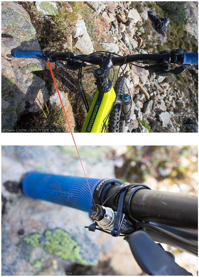 Trigger switch for pocketwizard on bike handlebar