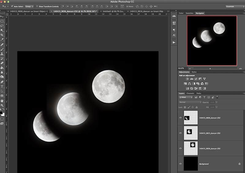 photoshop lunar eclipse