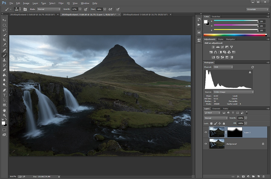 The two files blended together by the use of a layer mask and painting in the darker exposure for the sky. A 'Refine Mask' option was used here to present a more natural look.