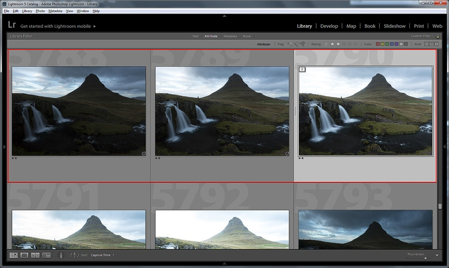 Three exposures selected in Lightroom 5 to be hand blended as layers in Photoshop CC