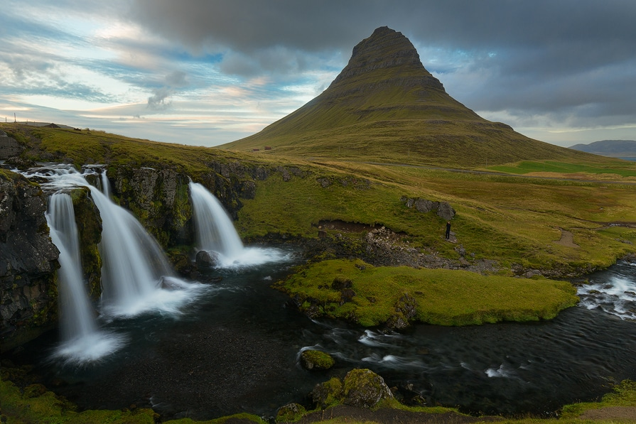 a 3 image hand blend of Kirkjufellsfoss and Kirkjufell Mountain in western Iceland.