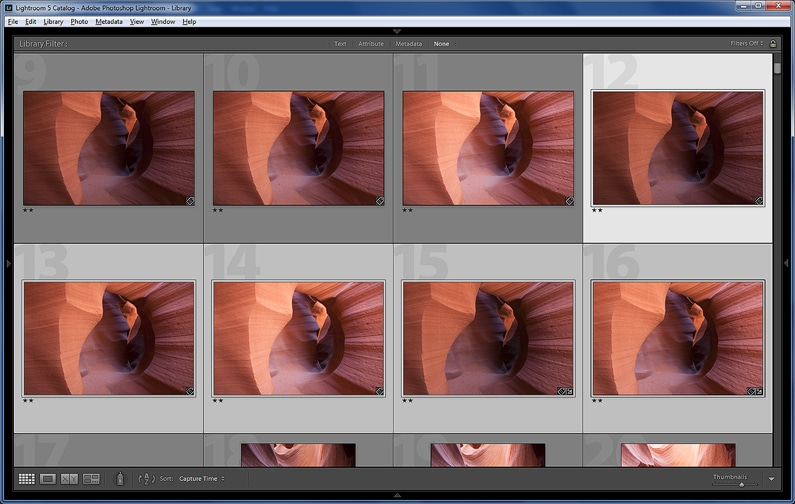 5 selected images from Antelope Canyon are merged into a 32-bit HDR file.