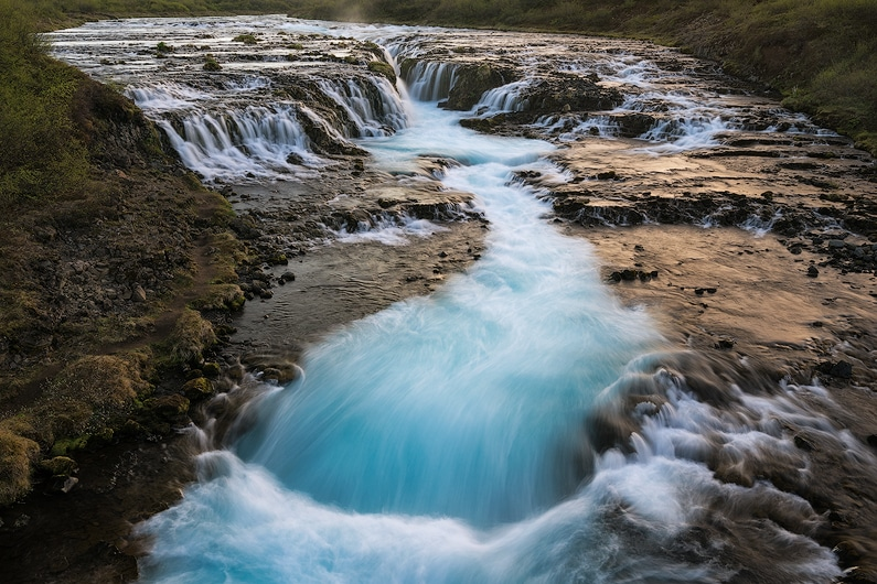 The beautiful waterfall Bruarfoss photographed at midnight. Sony A7r + FE 16-35 f/4. Single Image