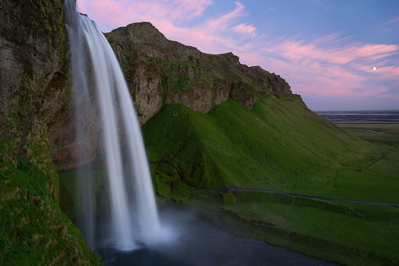 The beautiful Seljalandsfoss waterfall at 2am in Iceland. A7r * FE 16-35 f/4, single image.