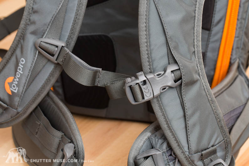 The sternum strap features an emergency whistle.