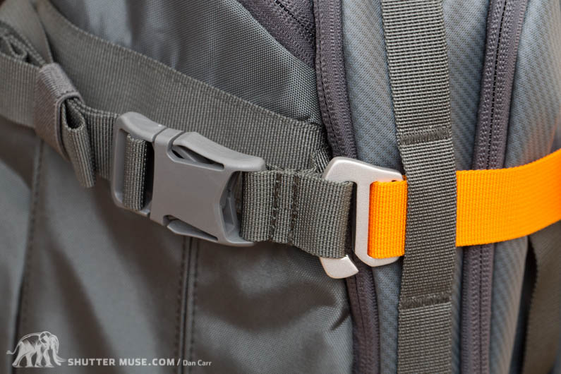 Adjustable front straps look awesome in orange with silver hardware. A nice touch!