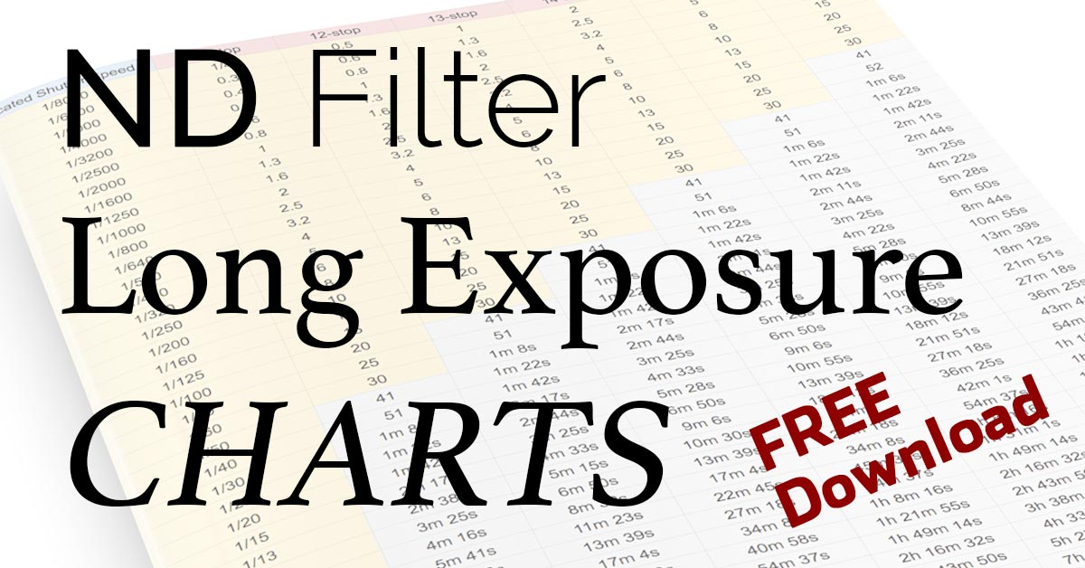ND Filter Long Exposure Charts – Free Download