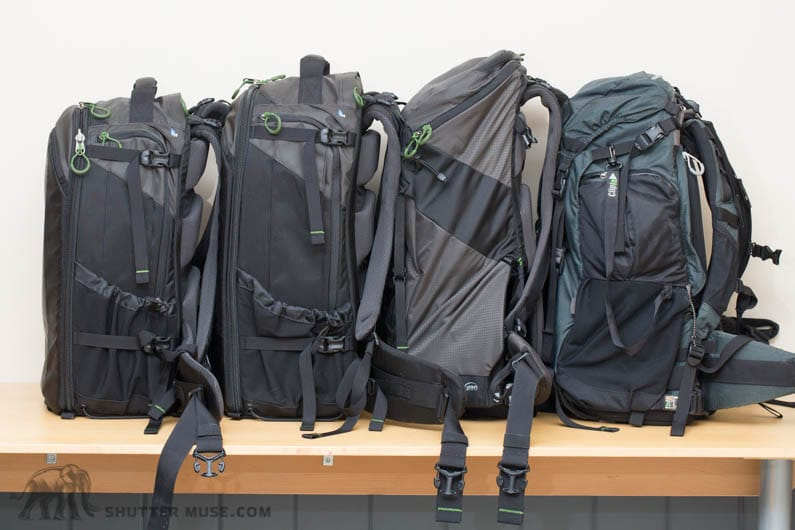 On the left is the FirstLight 30L and 40L, then the R180 Horizon, followed by the R180 Professional on the right. Notice the lesser volume Horizon is actually slightly taller than the R180 Professional.