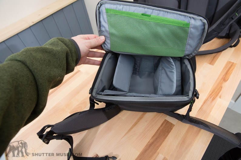 The belt pack has an internal pocket that fits a tablet, and there's also a small mesh pocket that's suitable for batteries or a memory card holder.