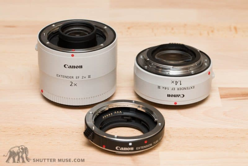 Here you can see exactly why the extension tube is necessary. The protrusion from one extender would otherwise easily touch against the rear element of the other one, preventing them from coupling.