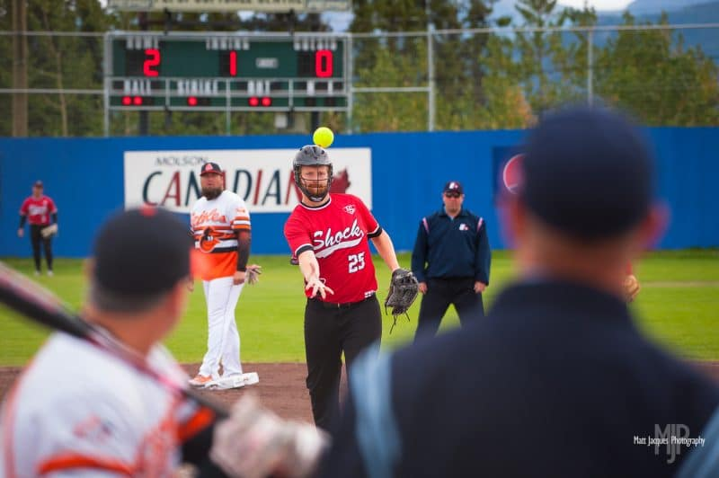 Yukon, Canada - August 13, 2016: Softball action at the 2016 Men's and Women's Canadian Slo-Pitch Championship.