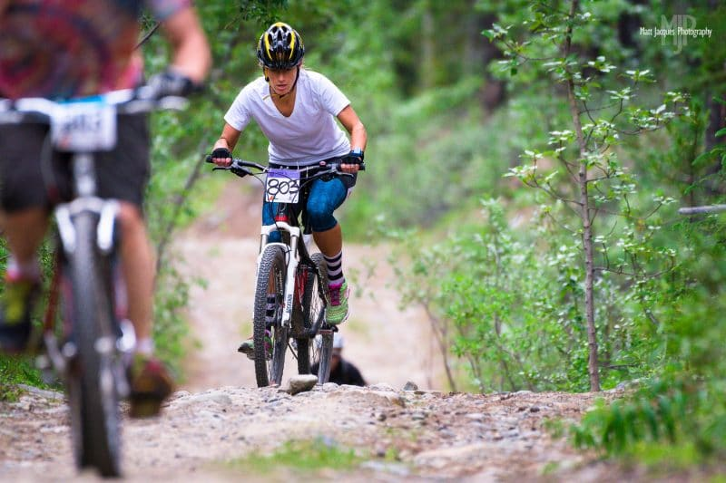 Whitehorse, Canada - June 25, 2016: Mountain biking action from the 2016 24 Hours of Light Mountain Bike Festival.