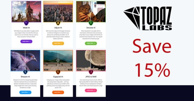 Reminder: Save 15% On All Topaz Labs Software