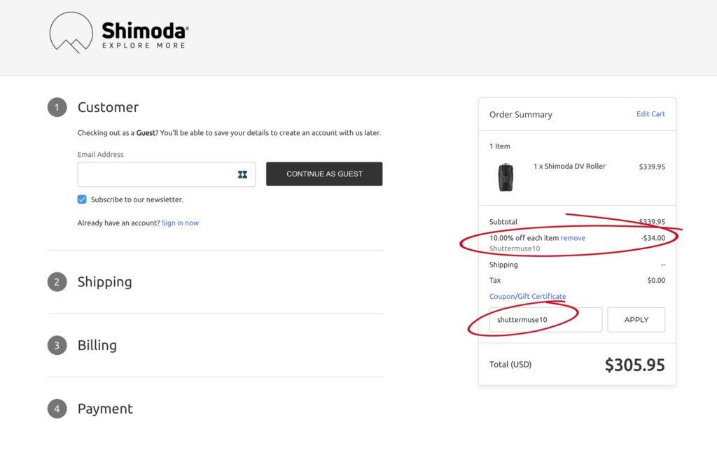 shimoda design discount code